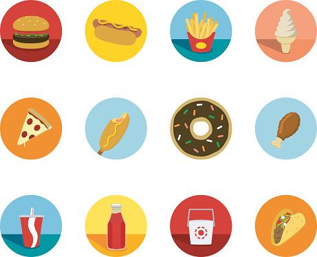 Fast Food Circle Icons