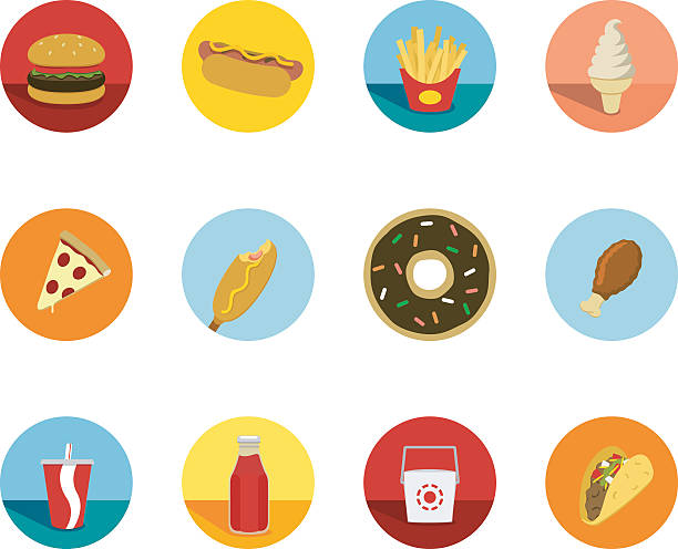 fast food circle icons - junk food stock illustrations, clip art, cartoons, & icons