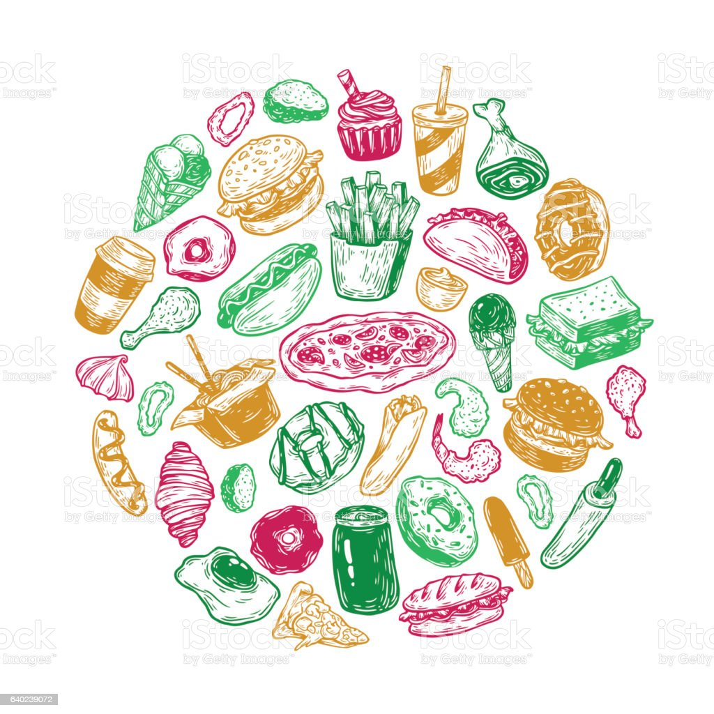Fast Food Circle Stock Vector Art Amp More Images Of