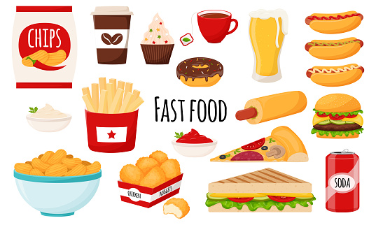 Fast food collection. A set of fatty, high-calorie, harmful food. Hamburger, hot dog, chips, French fries, chicken nuggets, pizza, chips . Flat cartoon style, isolated on white. vector illustration.