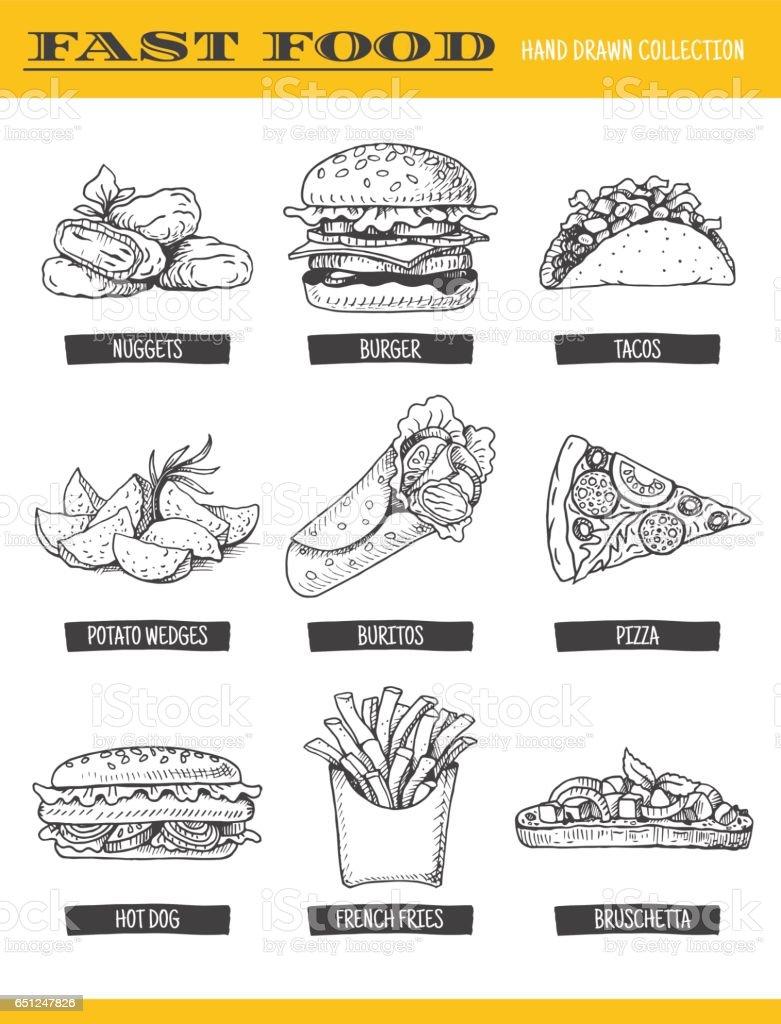 Colección de comida rápida. - ilustración de arte vectorial