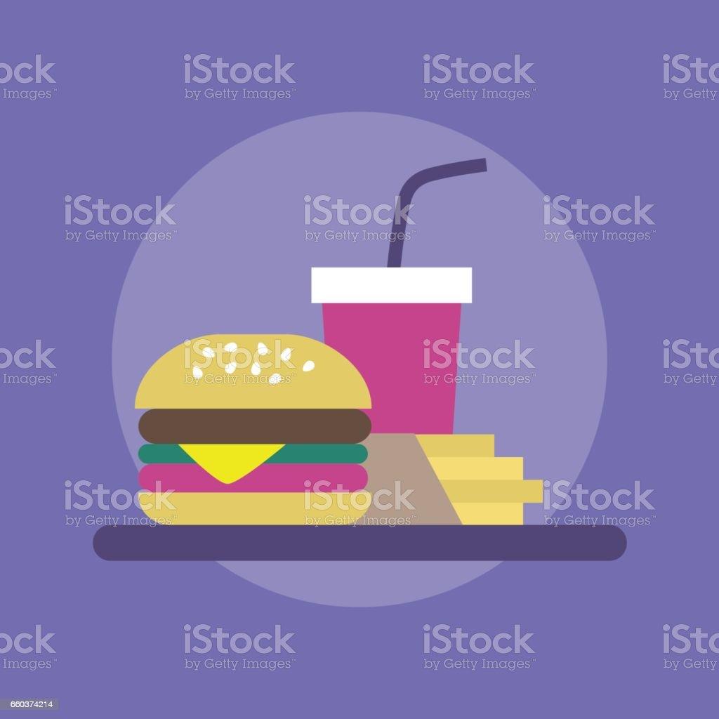 Combinação de fast-food: hambúrguer, batatas fritas e refrigerantes - ilustração de arte em vetor