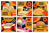 Fast food combo meals sale promo posters. Vector pizza, cheeseburger and french fries with sandwich and beer. Sweet bar donut, pie and ice cream desserts. Burgers, wok noodles and tacos takeaway food