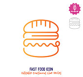 istock Fast Food Continuous Line Editable Stroke Line 1250734813