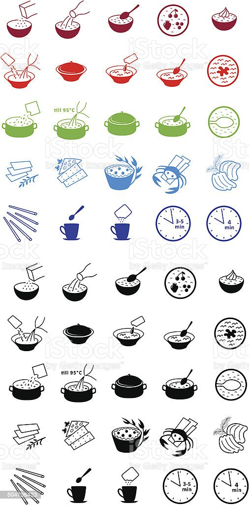 Fast food cooking process icons vector art illustration