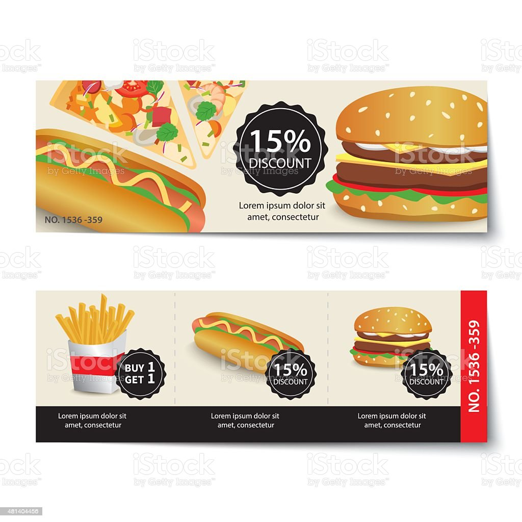 Fast Food Coupon Discount Template Design Stock Vector Art More