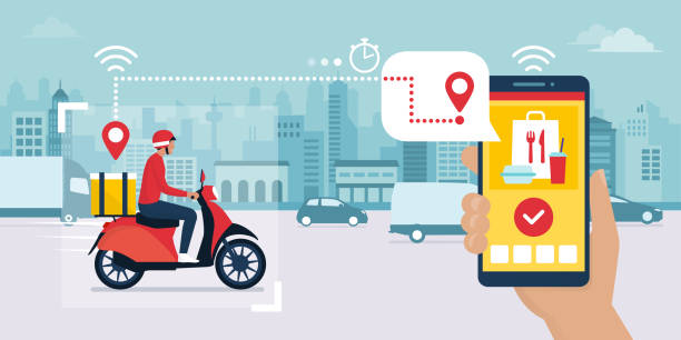 Fast food delivery app and delivery man Food delivery app on a smartphone tracking a delivery man on a moped with a ready meal, technology and logistics concept, city skyline in the background personal land vehicle stock illustrations