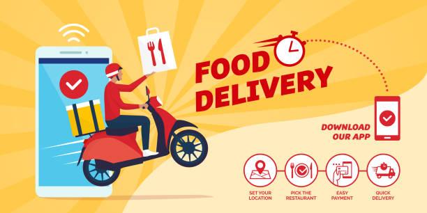 智慧手機上的速食遞送應用 - delivery 幅插畫檔、美工圖案、卡通及圖標