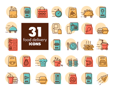 Fast food delivery vector icons set