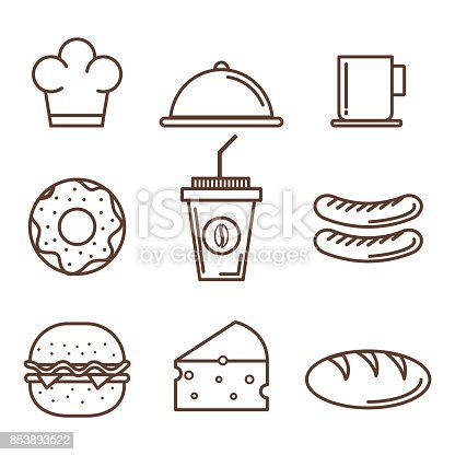 Hand drawn food over white background vector illustration