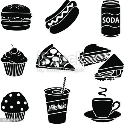 Vector icons of fast food for breakfast, lunch and dinner.