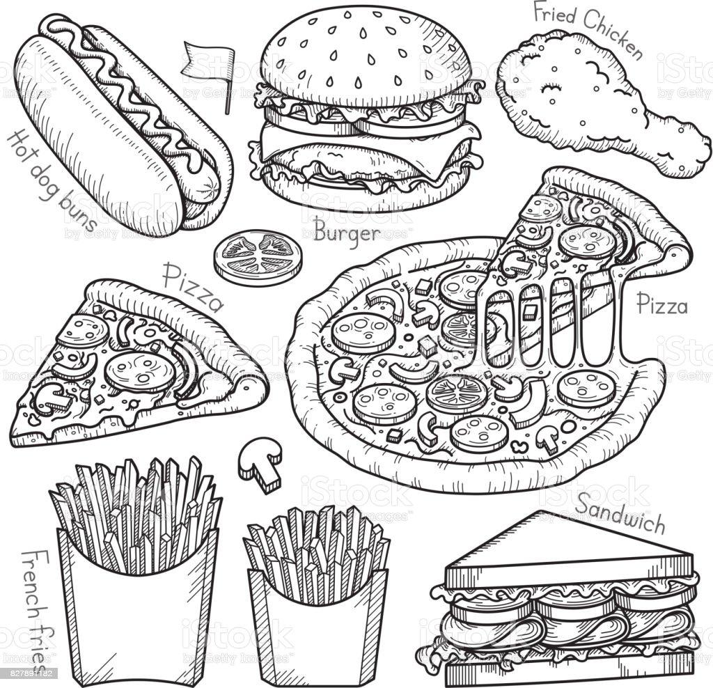 Fast-Food-Doodle-Elemente hand gezeichnete Stil. – Vektorgrafik