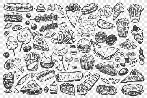 Fast food doodle set collection