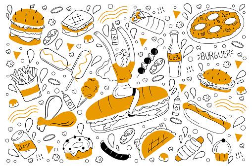 Fast food doodle set
