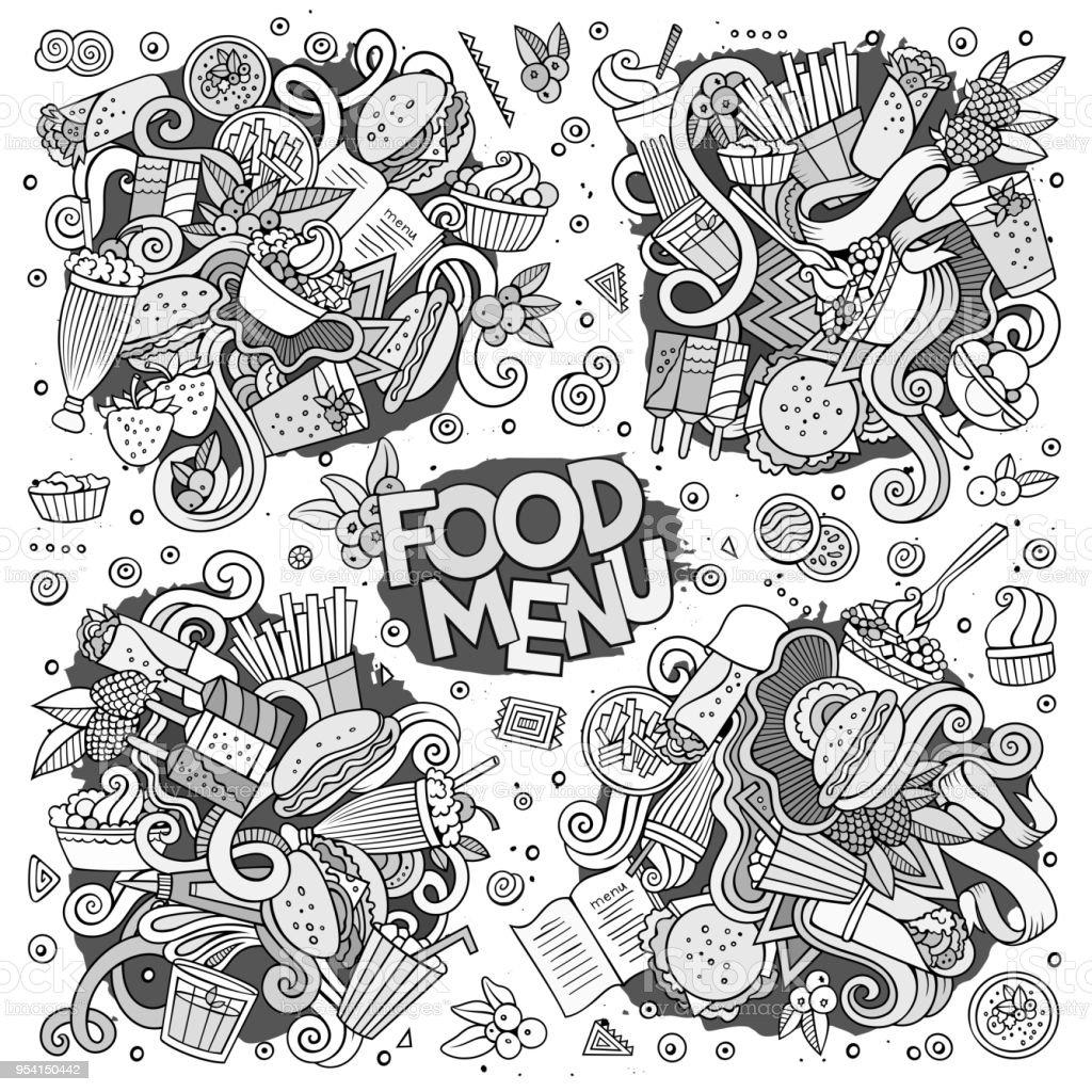 Fast Food Doodles Hand Drawn Sketchy Vector Symbols Stock Vector Art