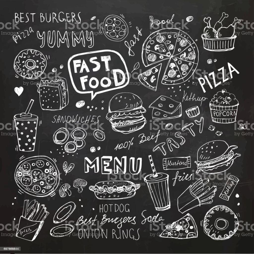 Fast-food doodles. Objetos e símbolos de vetor de mão desenhada - ilustração de arte em vetor