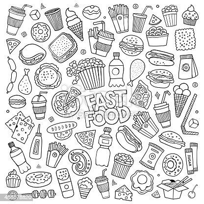 Fast Food Doodles Hand Drawn Vector Symbols Stock Vector