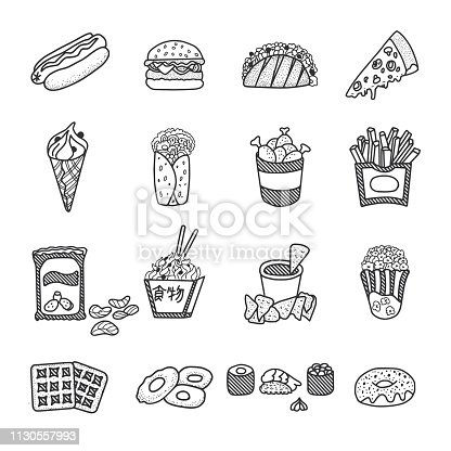 Vector food doodles. Fastfood illustration set.