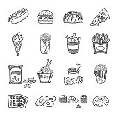 Fast Food Doodles Set