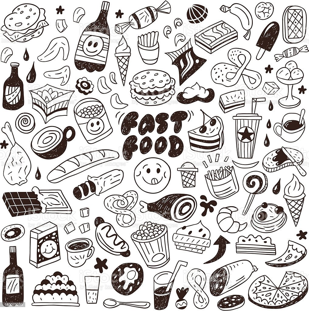 fast food - doodles set royalty-free stock vector art