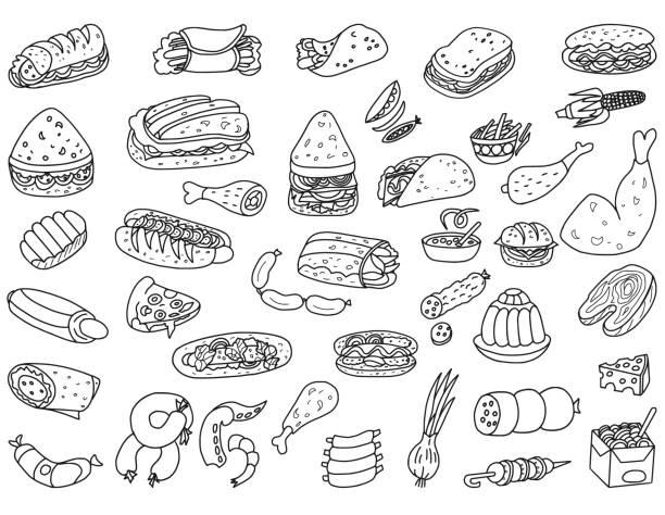 Fast Food Doodles Vector food doodles. Fast food illustration set. bread drawings stock illustrations
