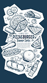 Cafe bar fast food symbols restaurant pattern doodle sketch abstract vector illustration. Fast food vertical banner. Burger and pizza hand drawn style. Cafe restaurant cover menu design. Top view.