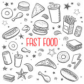 doodle sketch vector illustrations of various fast food items