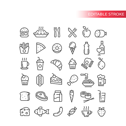 Fast food, drink and groceries line vector icon set