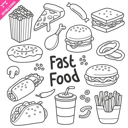 Fast Food Editable Stroke Doodle Vector Illustration.
