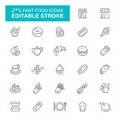 Restaurant,  Plate, Burger, Meal, Coffee Cup, Editable Stroke Icon Set