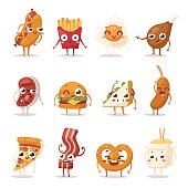 Fast food colorful emoticon face flat design icons set. Emoticon fast food funny elements vector character. Different emotions collection fast food characters smile fun unhealthy steak bacon.