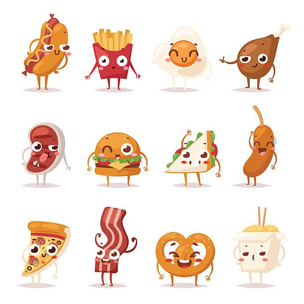 fast food emotion vector illustration. - angry emoji stock illustrations, clip art, cartoons, & icons
