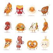 Fast food emotion vector illustration.