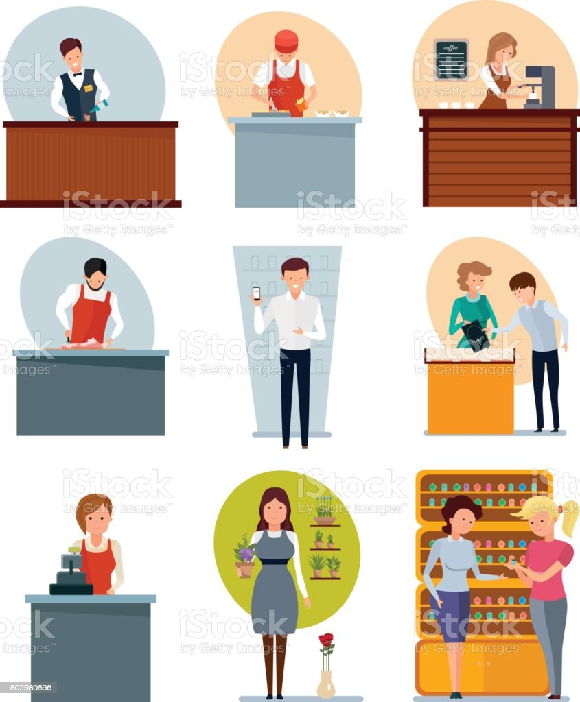 Fast food employee, butcher, seller coffee, jewelry, flowers, perfume, phones vector art illustration