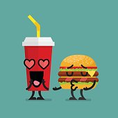 Fast food fall in love. Burger kissing soft dink character