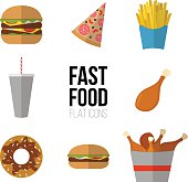 Fast food. Flat icons of junk food isolated on white