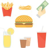 Flat icons fast food set vector illustration. isolated on white