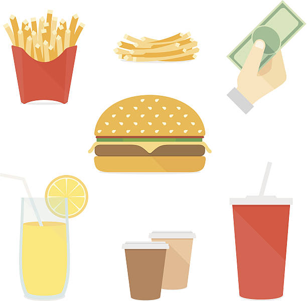 Fast food flat icons set Flat icons fast food set vector illustration. isolated on white french fries stock illustrations