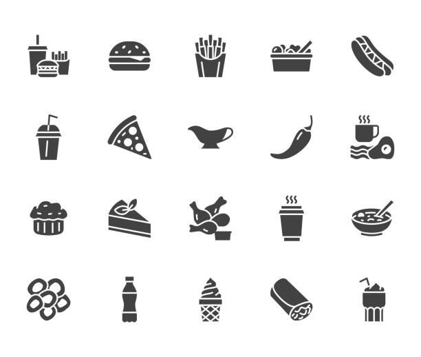 fast-food flache linie glyphe satz. burger, combo mittagessen, pommes frites, hot-dog, sauce, salat, suppe, pizza-vektor-illustrationen. anzeichen für die speisekarte des restaurants. solide silhouette pixel perfekt 64 x 64 - schnellkost stock-grafiken, -clipart, -cartoons und -symbole