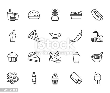 Fast food flat line icons set. Burger, combo lunch, french fries, hot dog, sauce, salad, soup, pizza vector illustrations. Thin signs for restaurant menu. Pixel perfect 64x64. Editable Strokes.