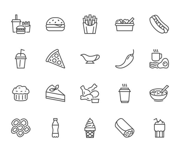 Fast food flat line icons set. Burger, combo lunch, french fries, hot dog, sauce, salad, soup, pizza vector illustrations. Thin signs for restaurant menu. Pixel perfect 64x64. Editable Strokes Fast food flat line icons set. Burger, combo lunch, french fries, hot dog, sauce, salad, soup, pizza vector illustrations. Thin signs for restaurant menu. Pixel perfect 64x64. Editable Strokes. french fries stock illustrations