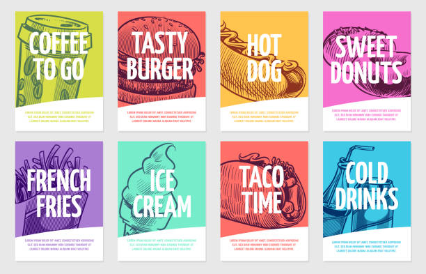 fast food flyers. coffee, burger and hotdog, pies and fries, ice cream and cola, sandwich. restaurant posters vector set - food delivery stock illustrations