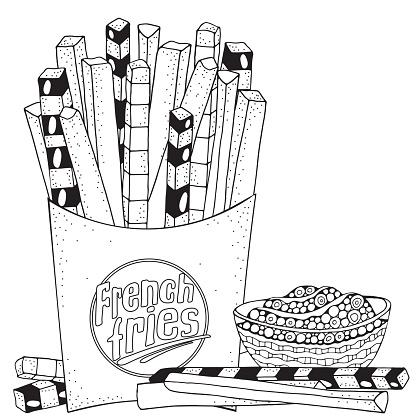 Fast Food Soslu Patates Kizartmasi Boyama Kitabi Sayfasi Siyah Ve