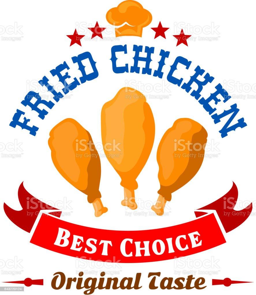 Fast food fried chicken legs badge for menu design vector art illustration