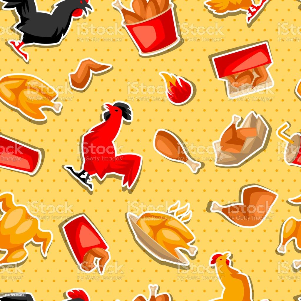 Fast food fried chicken meat vector art illustration