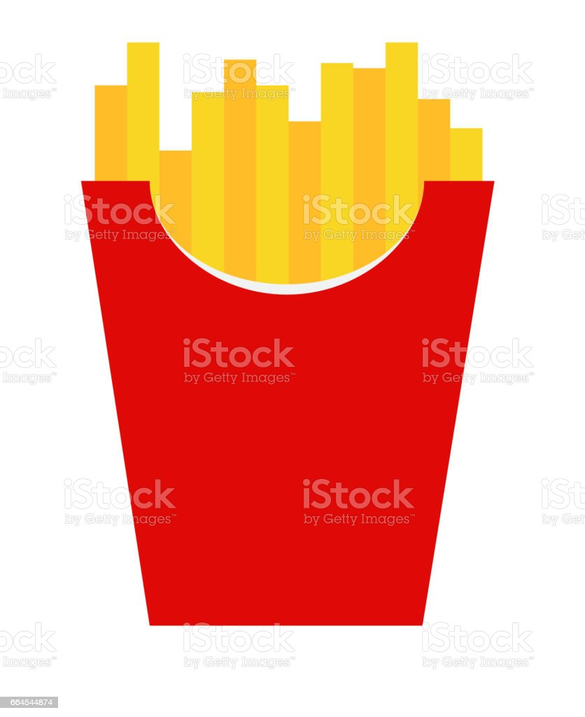 Fast Food Fried French Gold Fries Potatoes in Paper Wrapper Isol royalty-free fast food fried french gold fries potatoes in paper wrapper isol stock vector art & more images of belarus