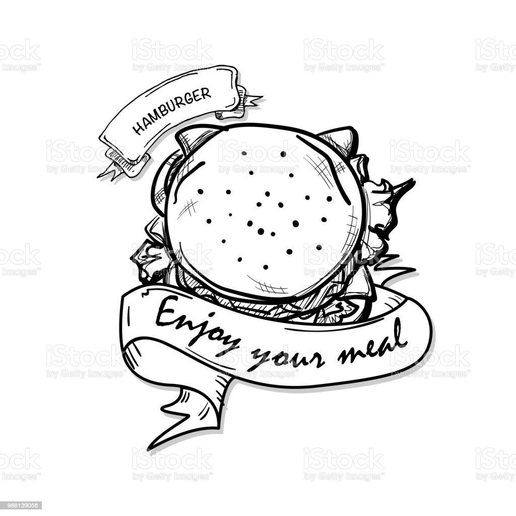 Fastfood Hamburger Dessin Objet Noir Blanc Vecteurs Libres