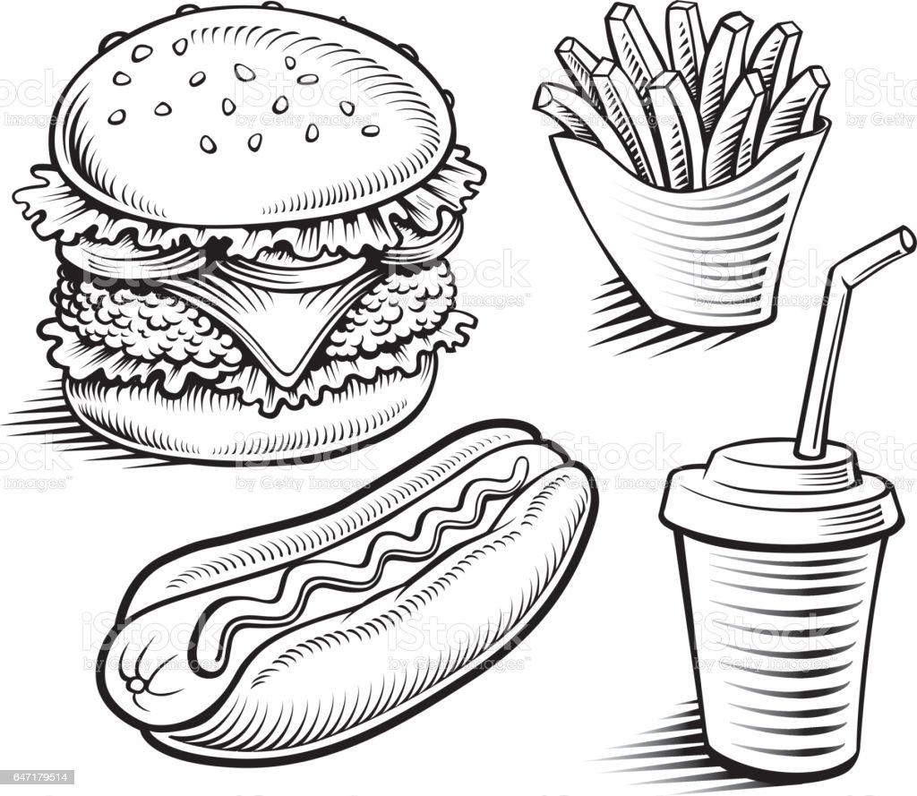 Fast Food Hamburger Fries Hotdog Drinkhand Drawing Stock ...