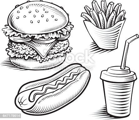 Hot Dog Line Drawing