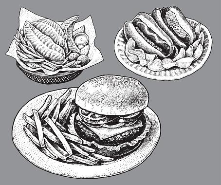 Fast Food, Hamburger, Hot Dog, Fish and Chips